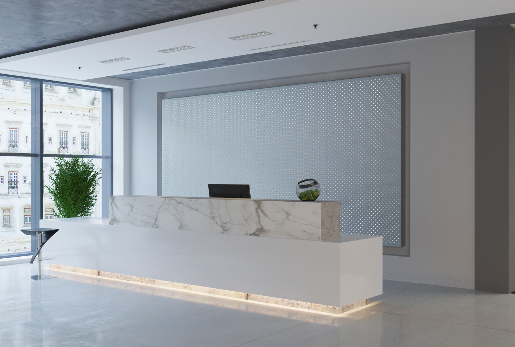 Arktura Graphic Perf® Standard Panels Particle with frosted backer installed in office lobby.