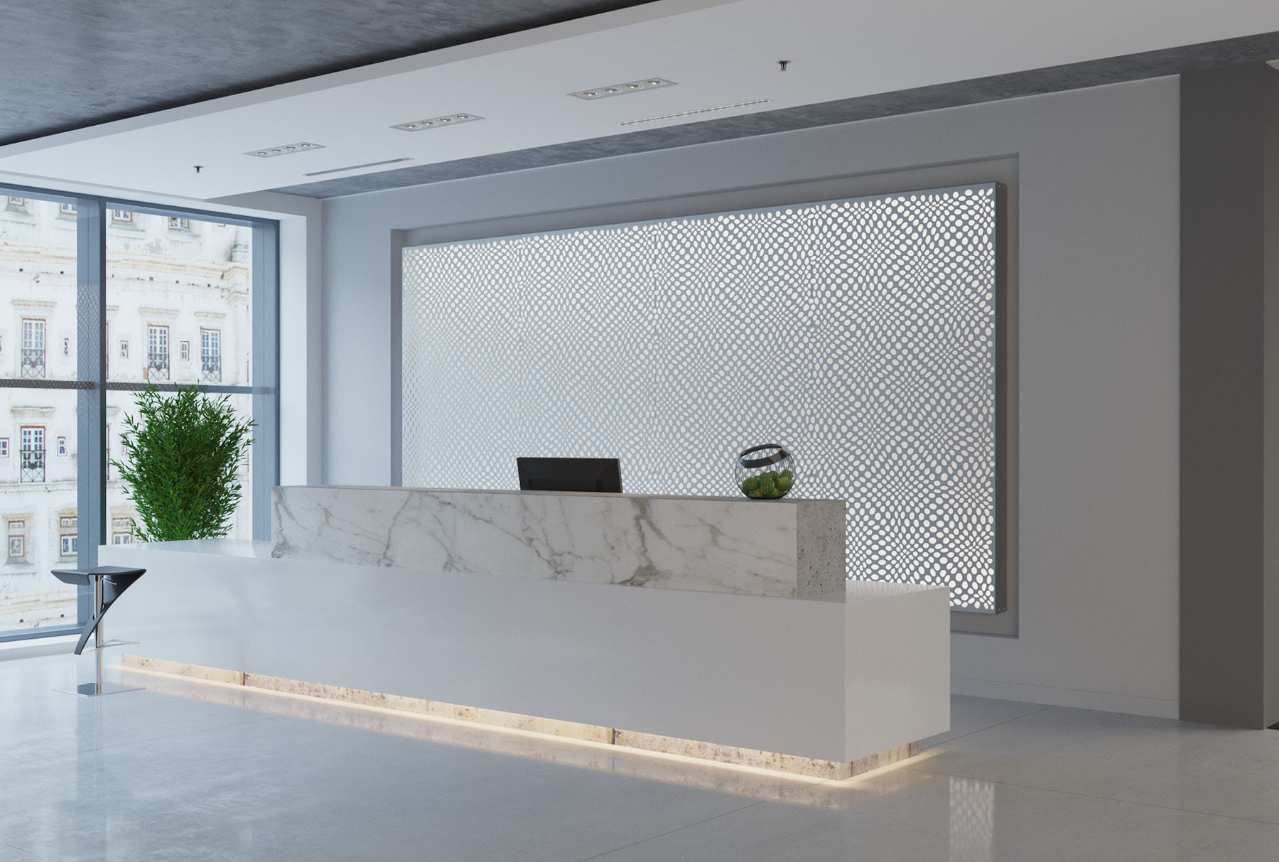 Arktura Graphic Perf® Standard Panels Ravel with frosted backer installed in office lobby.