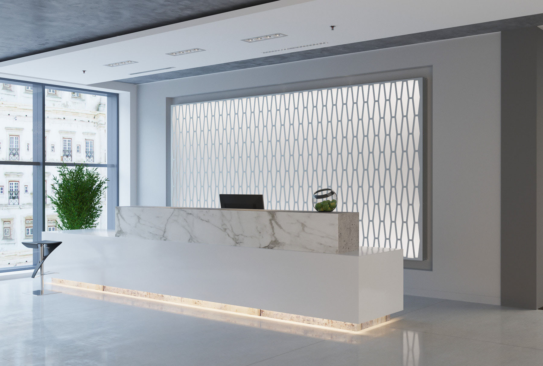 Arktura Graphic Perf® Standard Panels Stack with frosted backer installed in office lobby.