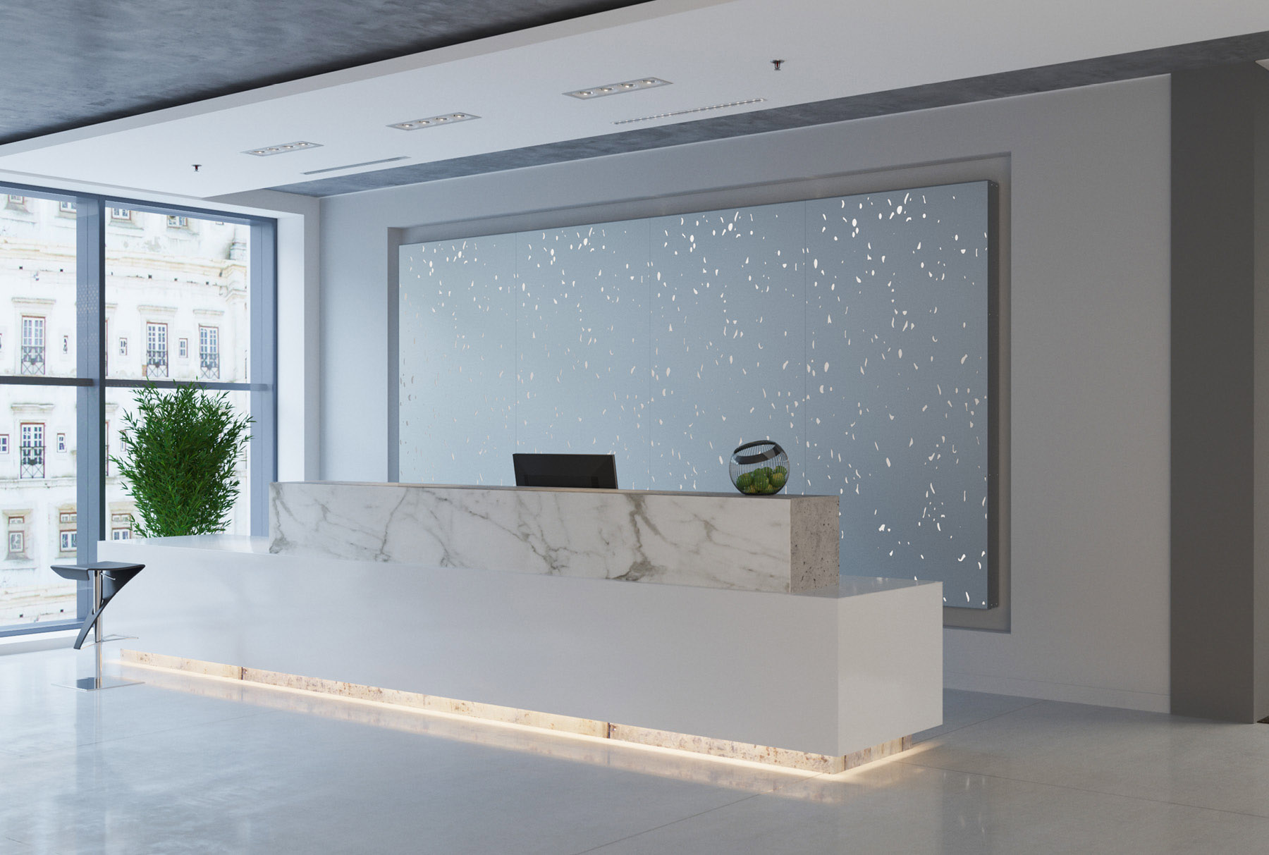 Arktura Graphic Perf® Standard Terra installed in office lobby.