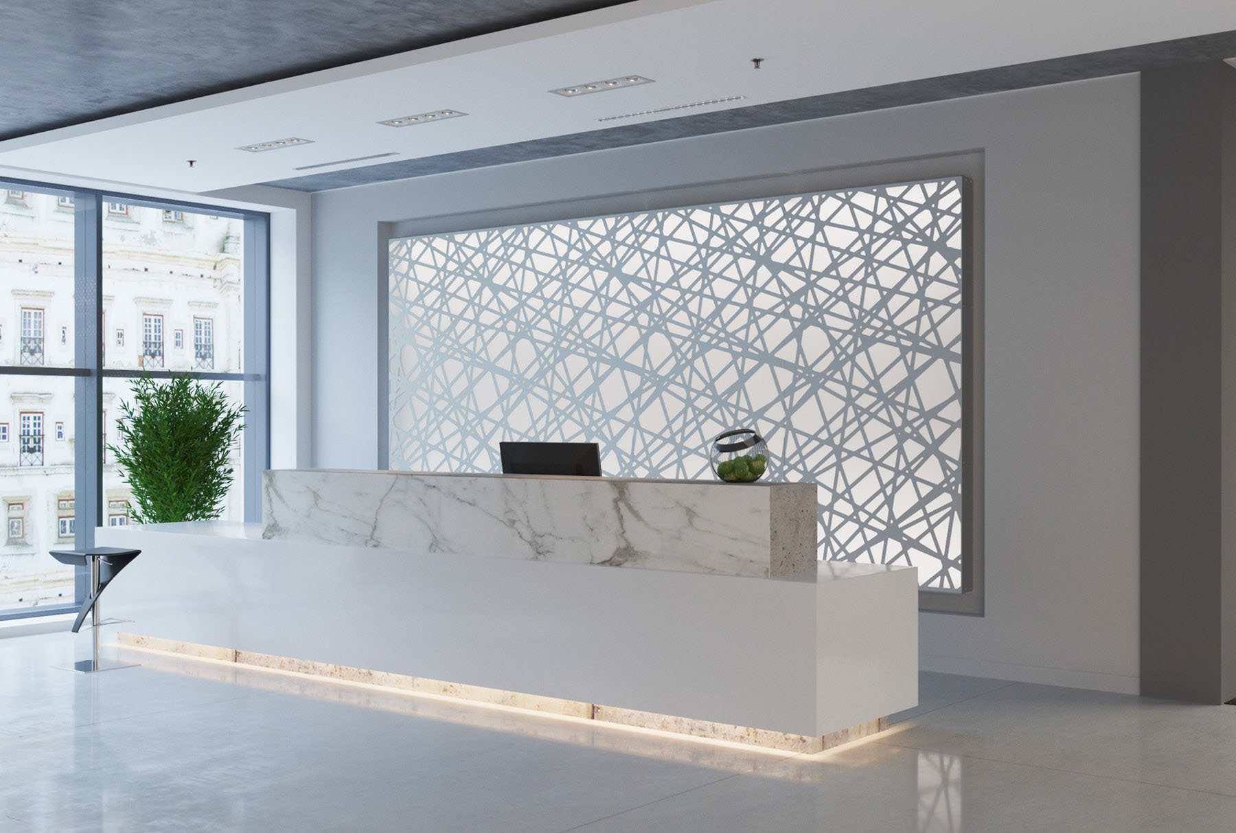 Arktura Graphic Perf® Standard Panels Trace with frosted backers installed in office lobby.