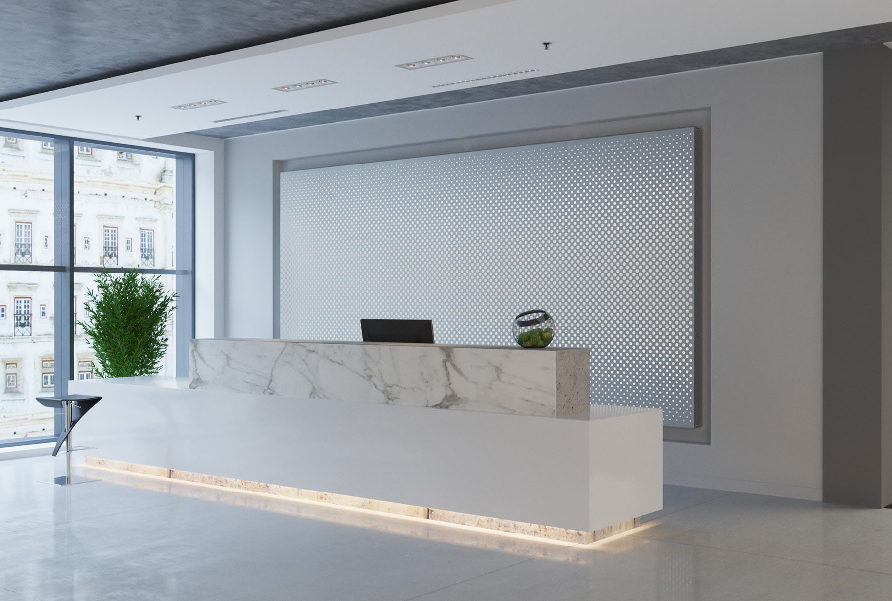 Arktura Graphic Perf® Standard Panels Vanish In installed in office lobby.