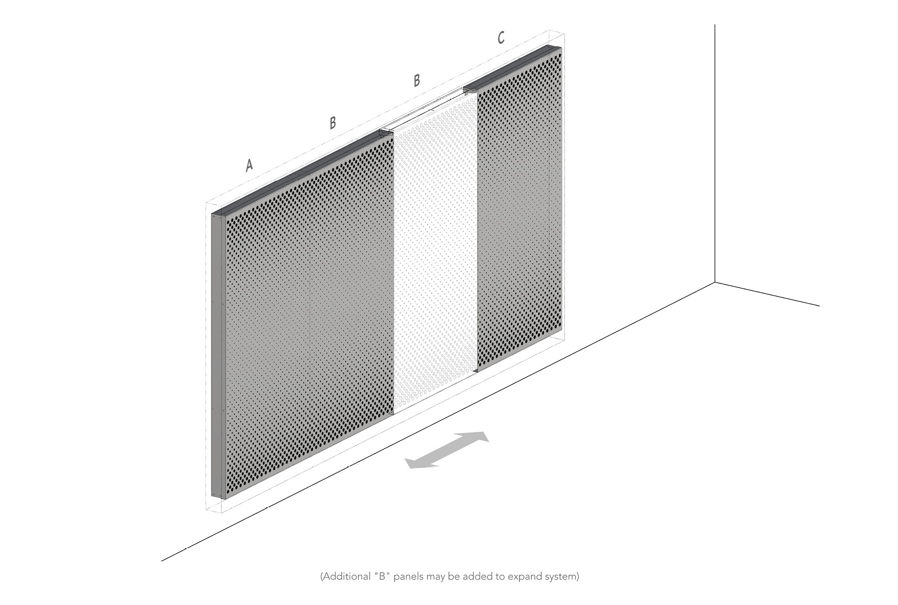 Arktura Graphic Perf® Standard Panels Vanish Out axon layout