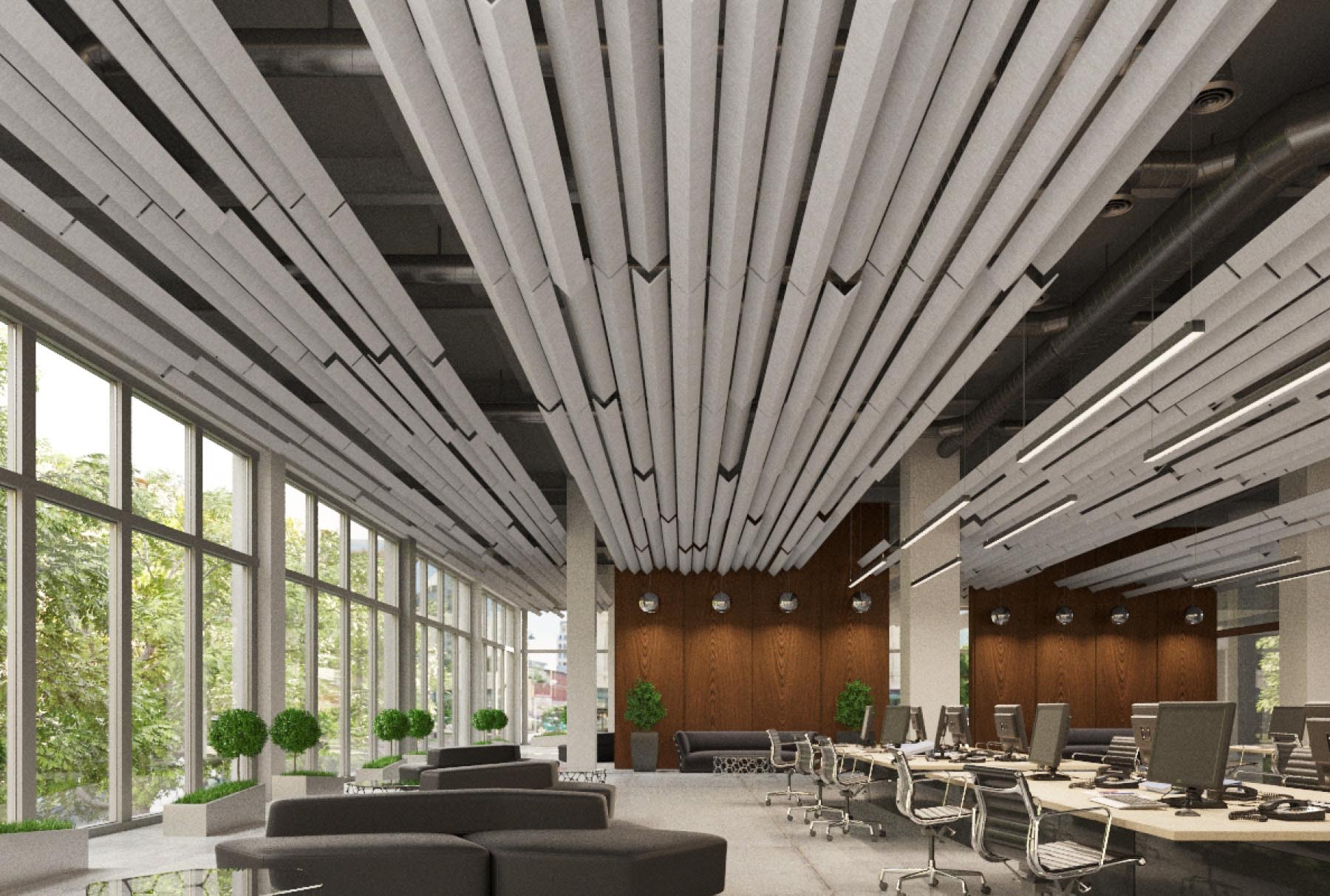 SoundAngle®acoustical system above office