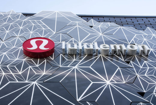 Close up of Arktura Solutions Studio geometric exterior facade for Lululemon