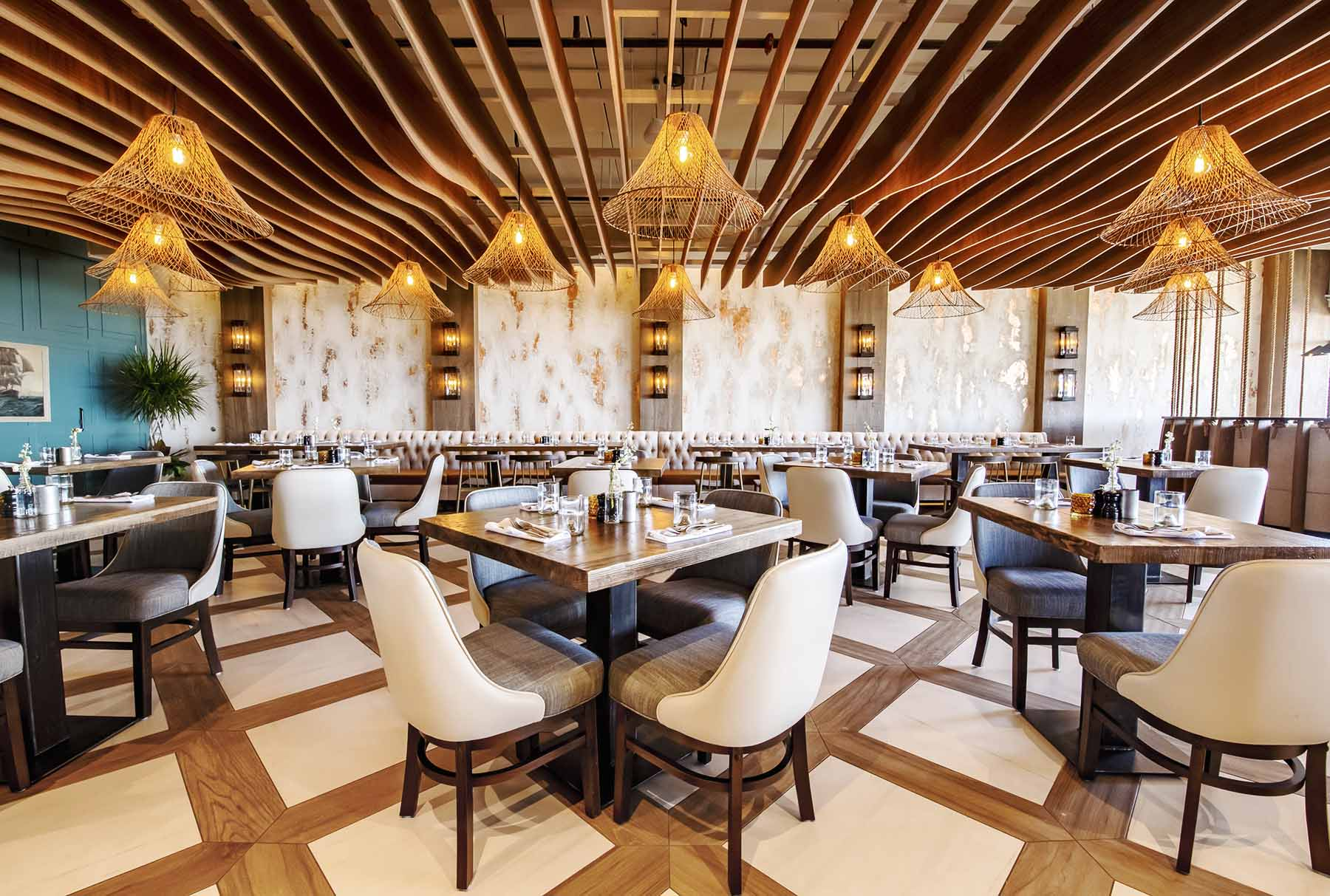 Arktura Atmosphera® Standard Swell in a Soft Sound® Wood Texture in Iron Whale Asbury's restaurant