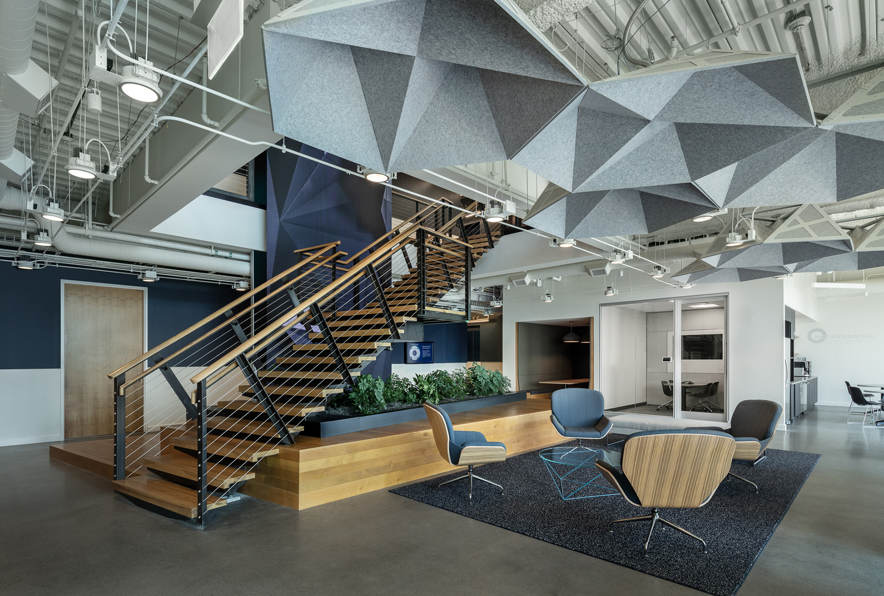 Grey SoundStar in Optiv lobby with staircase behind
