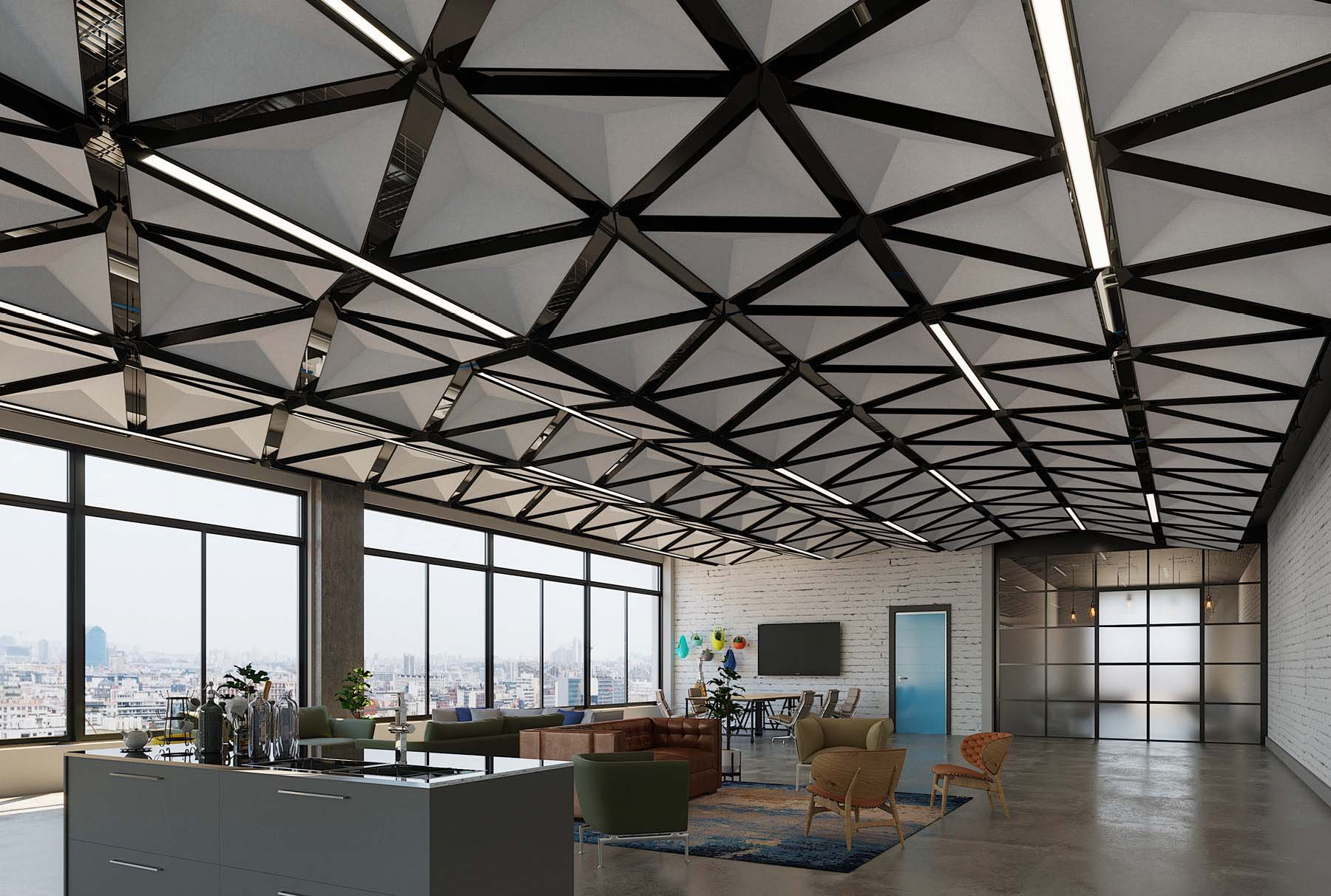Customizable Ceiling System Arktura Trisoft Dynamic
