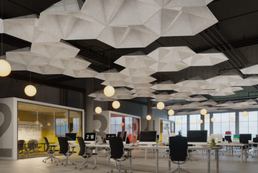 cloud ceiling panels SoundStar® faceted, acoustical system installed in office.