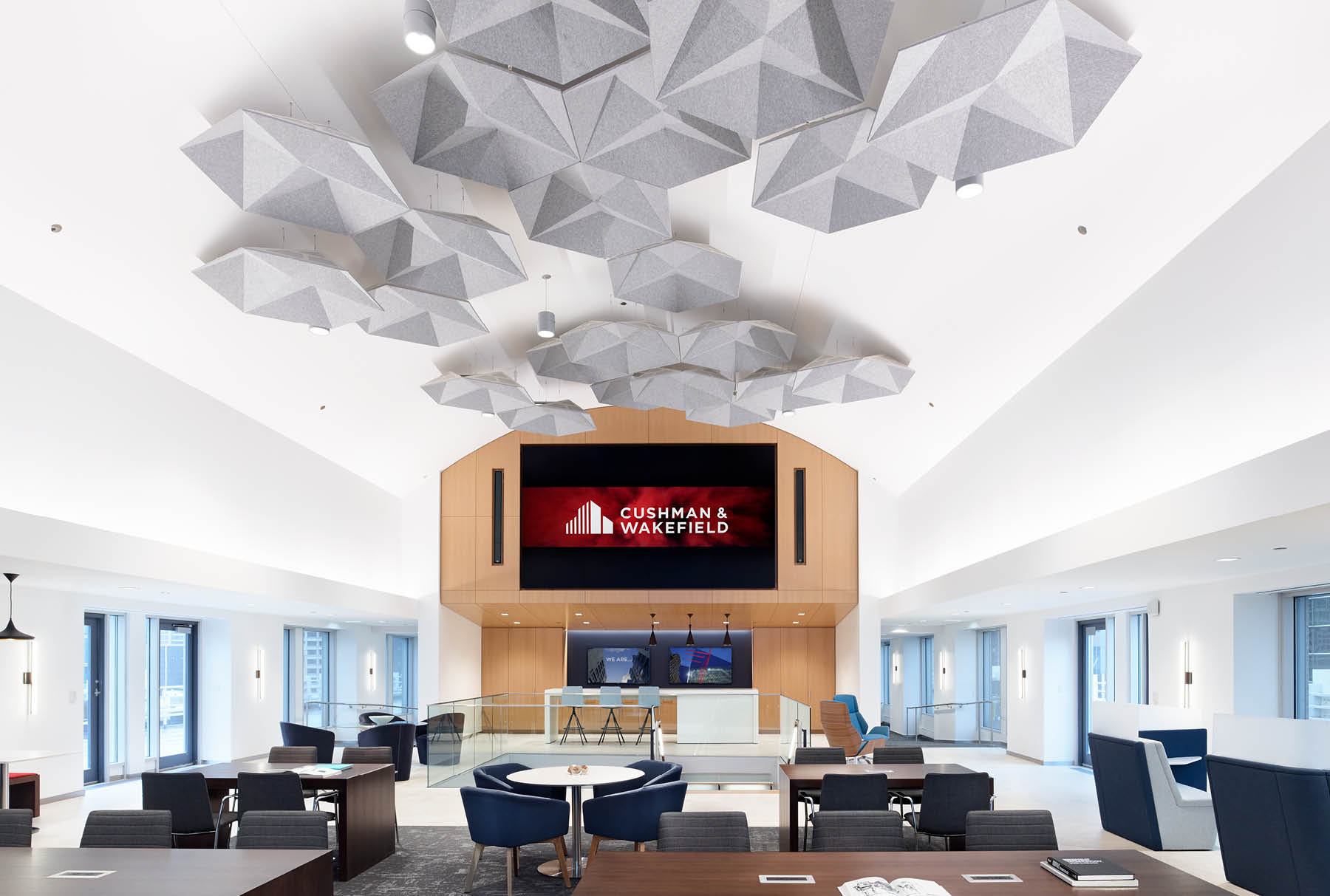 SoundStar® faceted, acoustical system installed in Cushman and Wakefield.