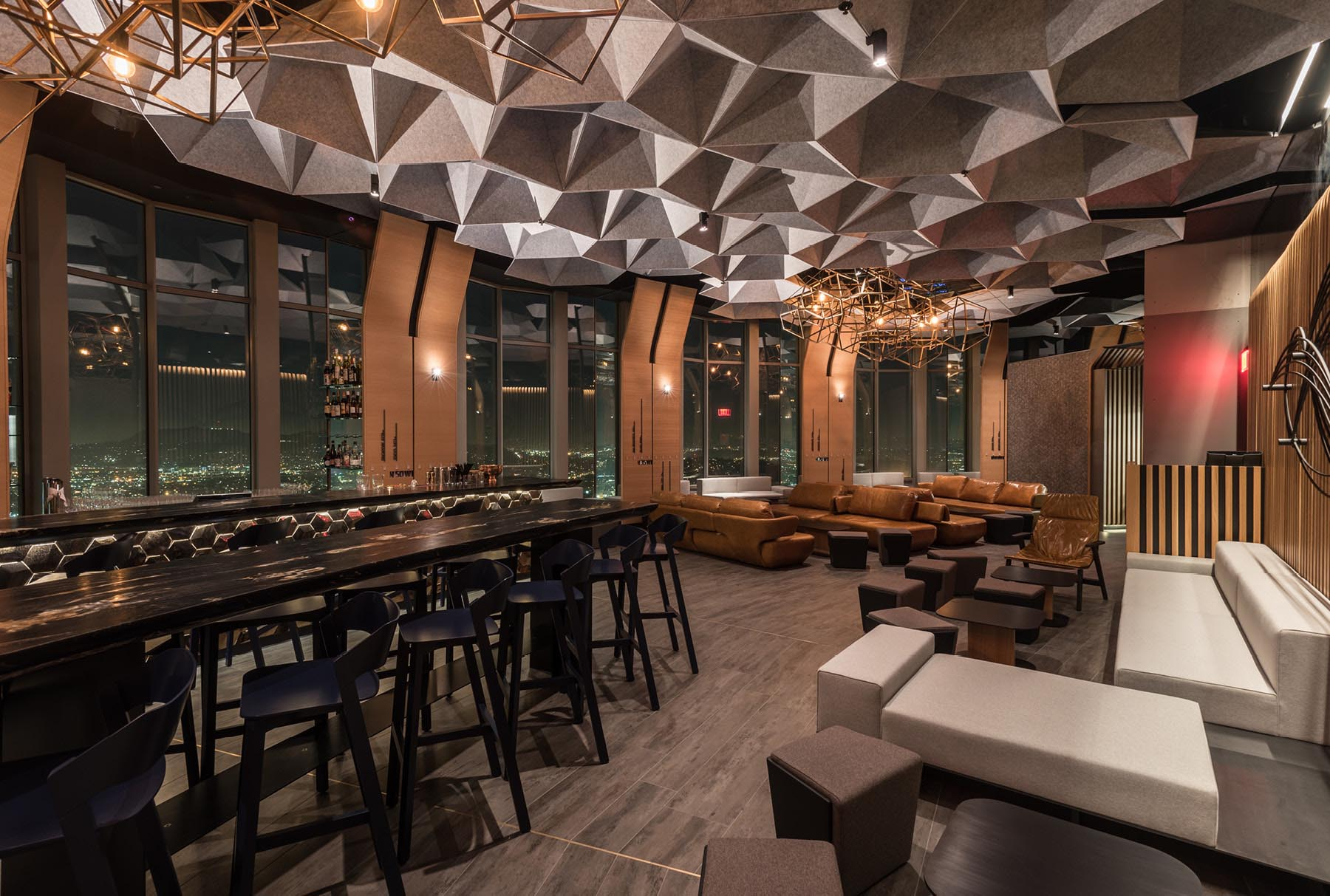 SoundStar® faceted, acoustical system installed in 71 Above restaurant.