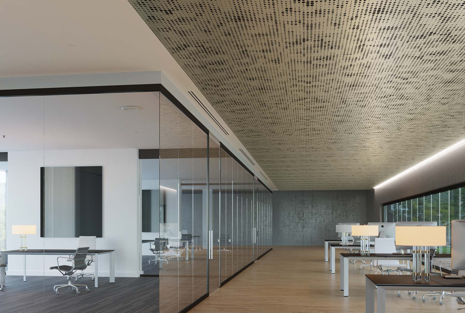 Arktura Vapor Pixel ceiling panels installed in an office