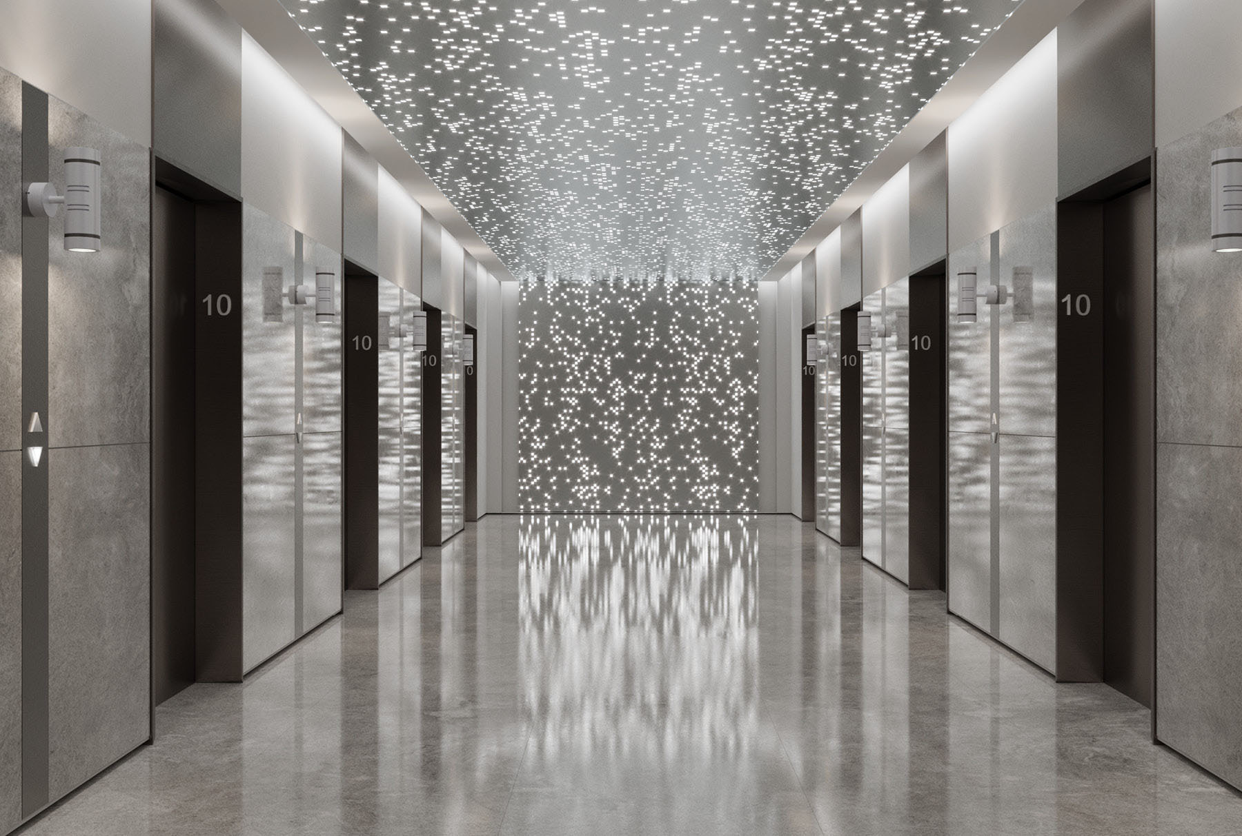 Arktura Vapor® Byte with backlight installed on the ceiling and wall of an elevator lobby.