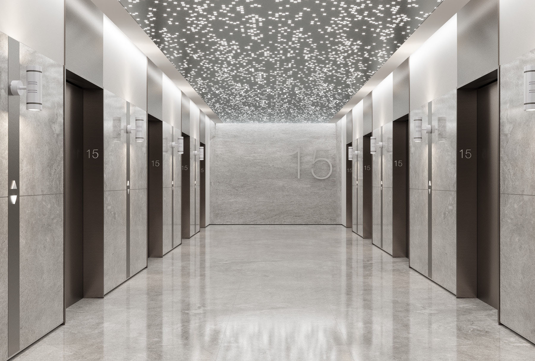 Arktura Vapor® Byte installed in an elevator lobby.