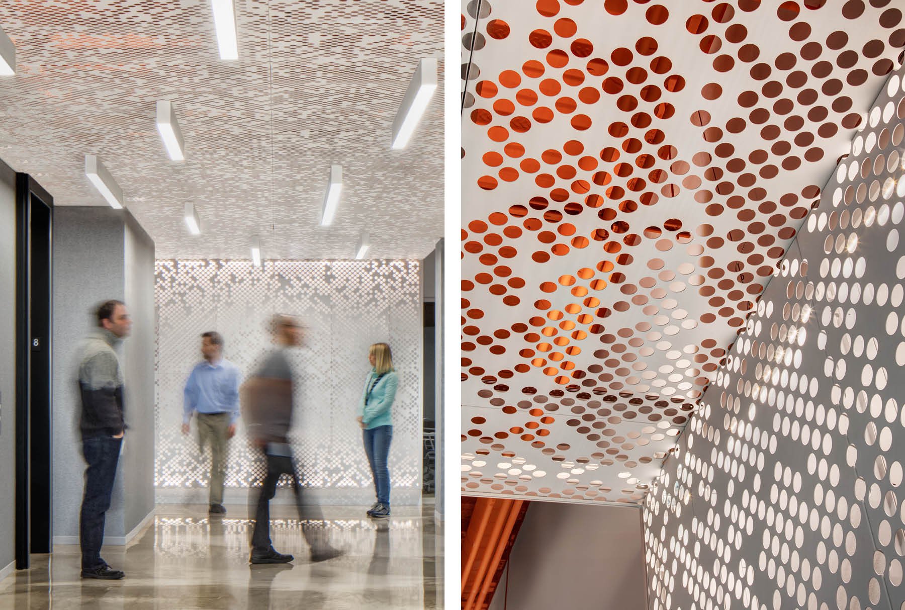 Close ups of Arktura Vapor® Cluster Dense installed on the wall and ceiling of an office.