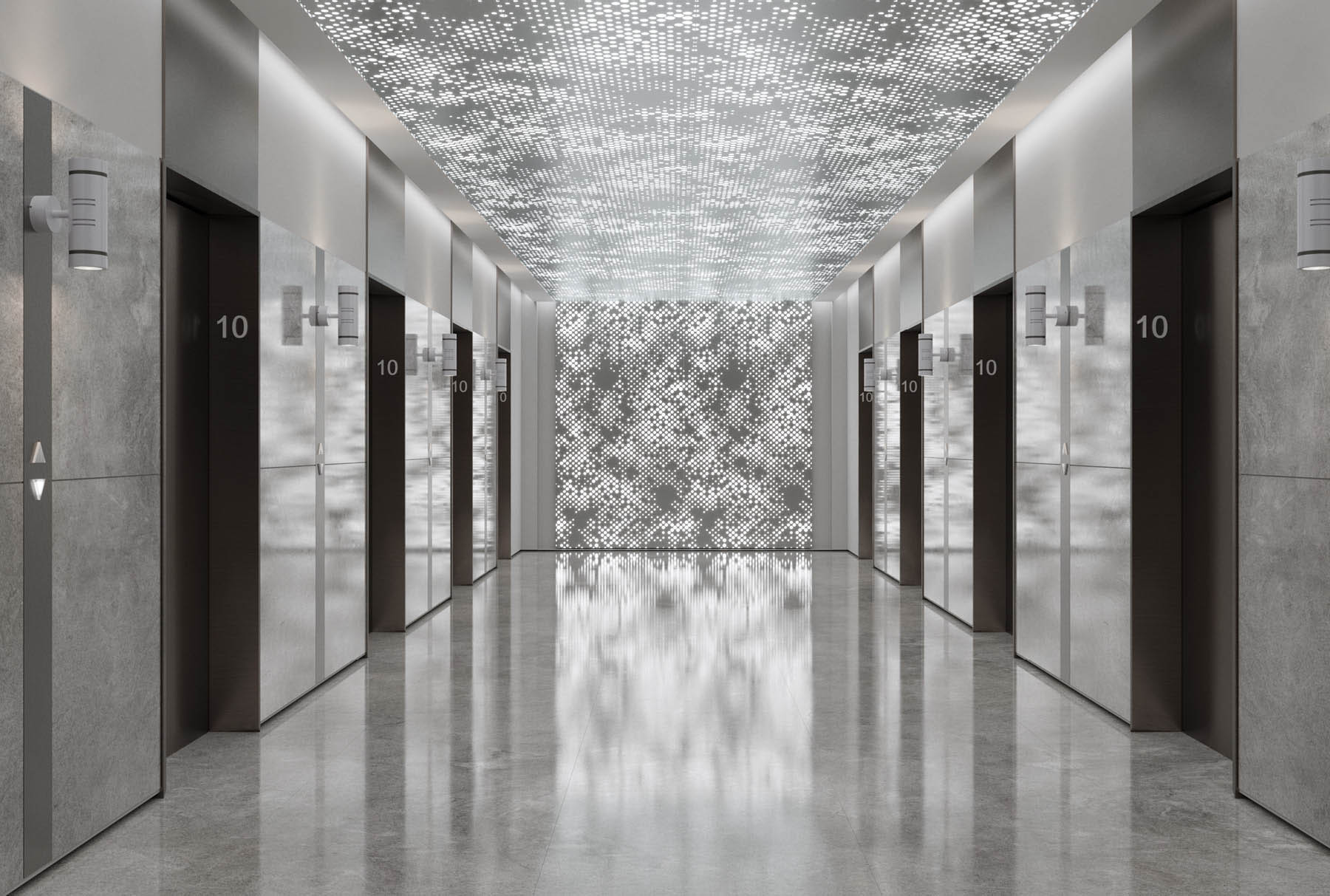 Arktura Vapor® Cumula with backlight installed on the ceiling and wall in an elevator lobby.