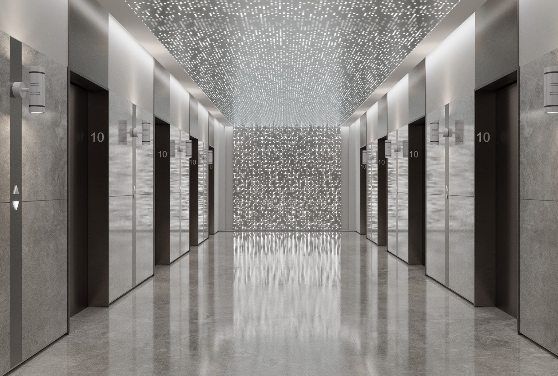 Arktura Vapor® Syntax with backlight installed on the ceiling and wall of an elevator lobby.