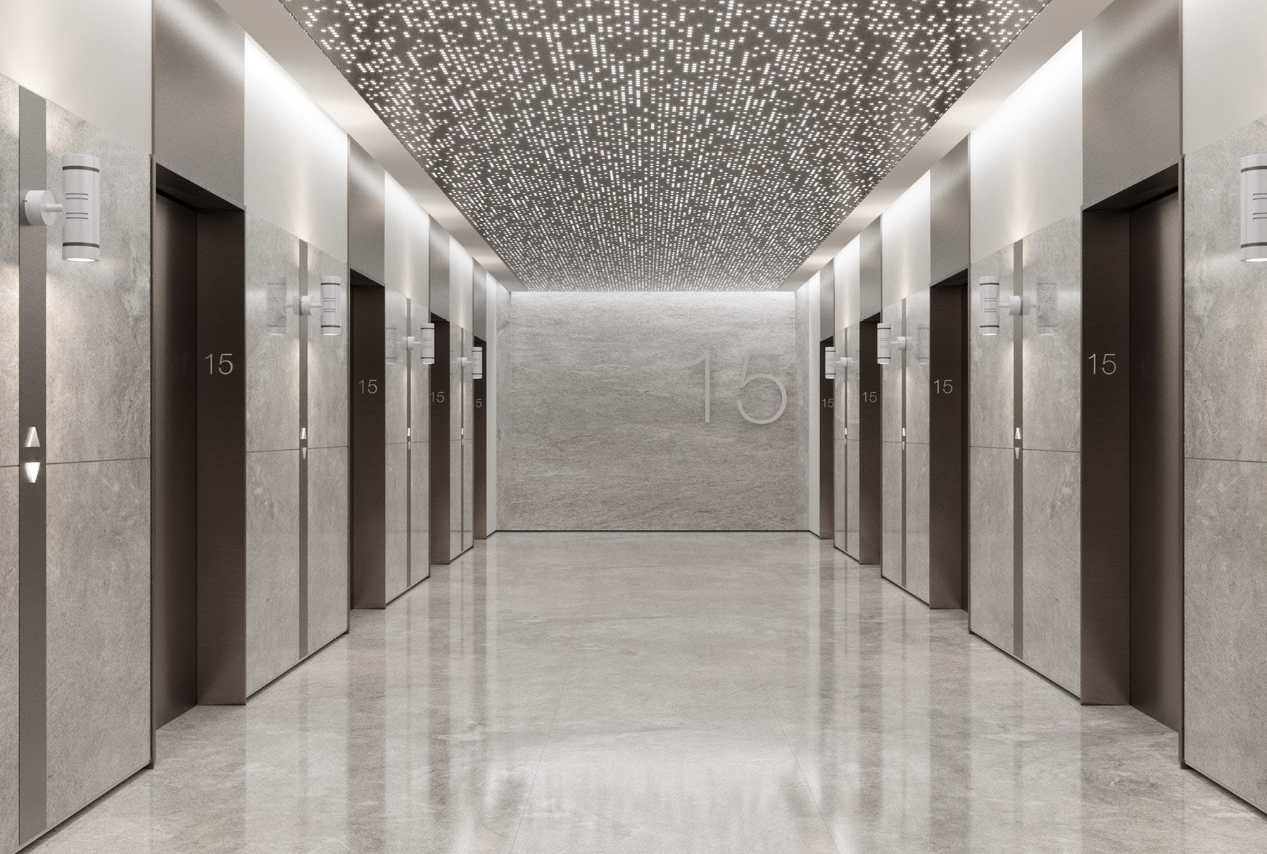 Arktura Vapor® Syntax installed in an elevator lobby.