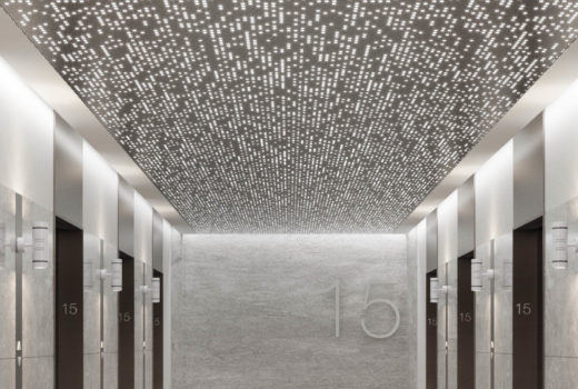 Close up of Arktura Vapor® Syntax installed in an elevator lobby.