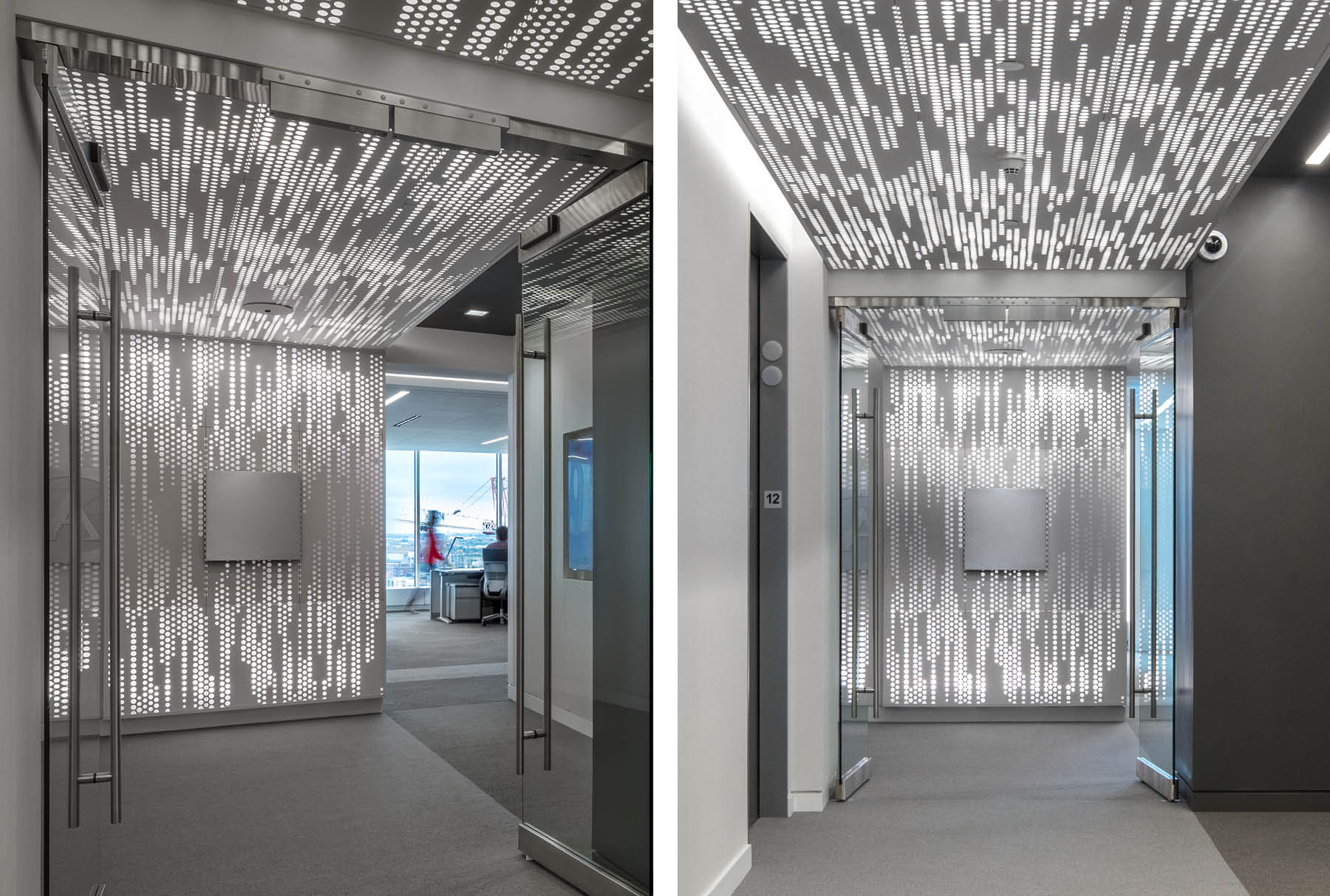 Close ups of Arktura Vapor® Trail installed on the wall and ceiling of an office.