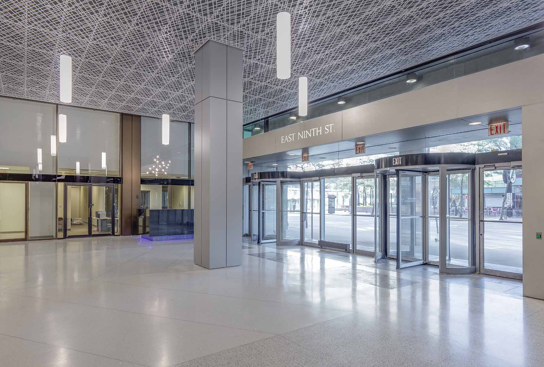 Arktura Trace Skew ceiling system installed in a lobby