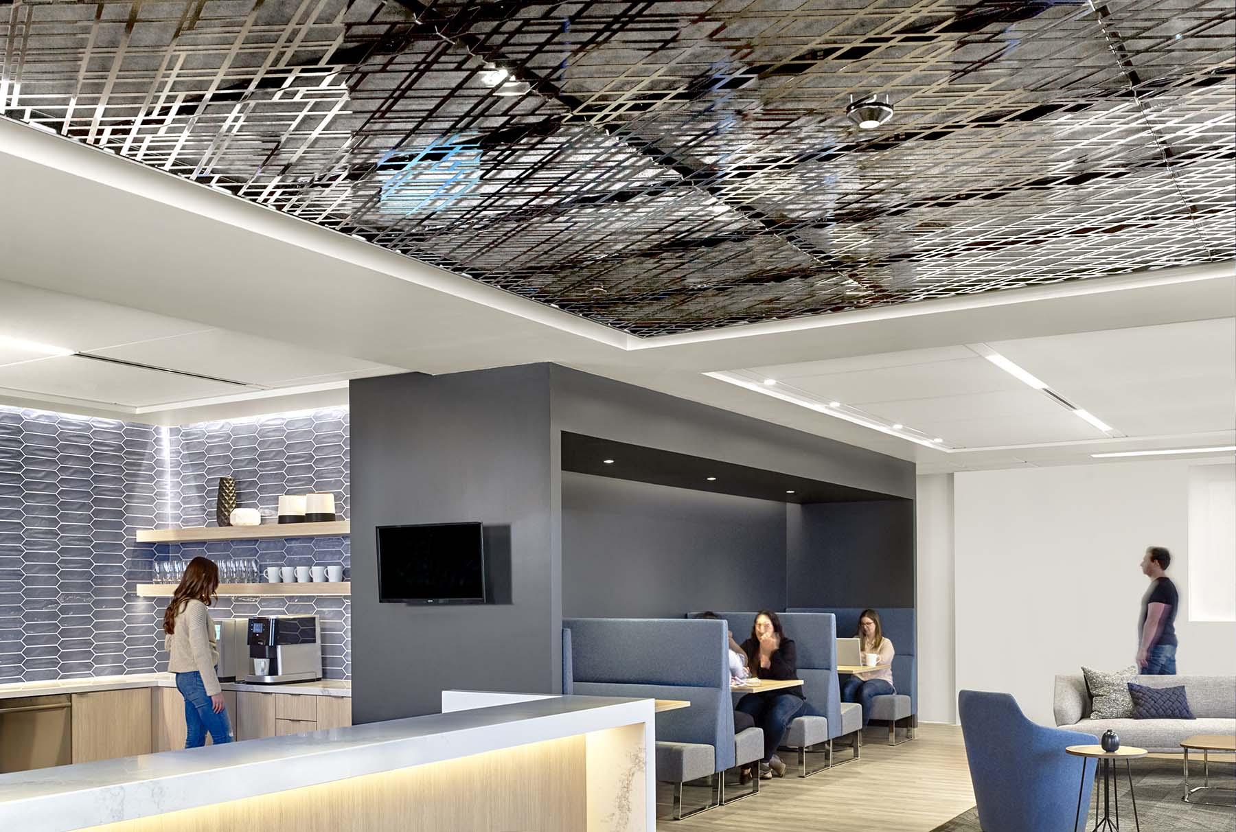Arktura Trace Skew in Black ceiling install in San Francisco office