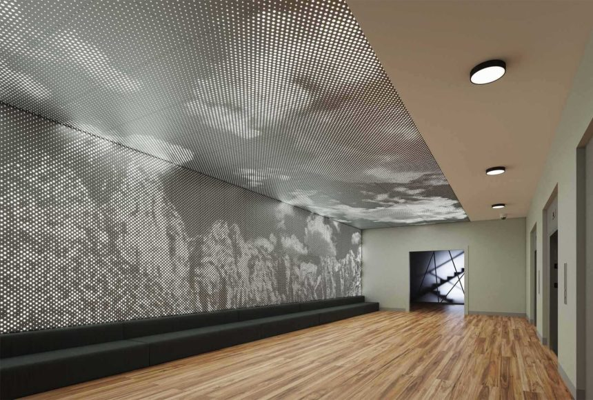 Arktura Vapor® Graphic Perf® in elevator lobby