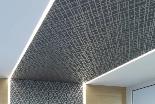 Trace® Skew with Soft Sound® Acoustical Backers installed in conference room.