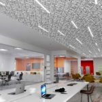 Trace® Slant with Soft Sound® backers and Arktura's InLine Integrated Lighting installed in office.