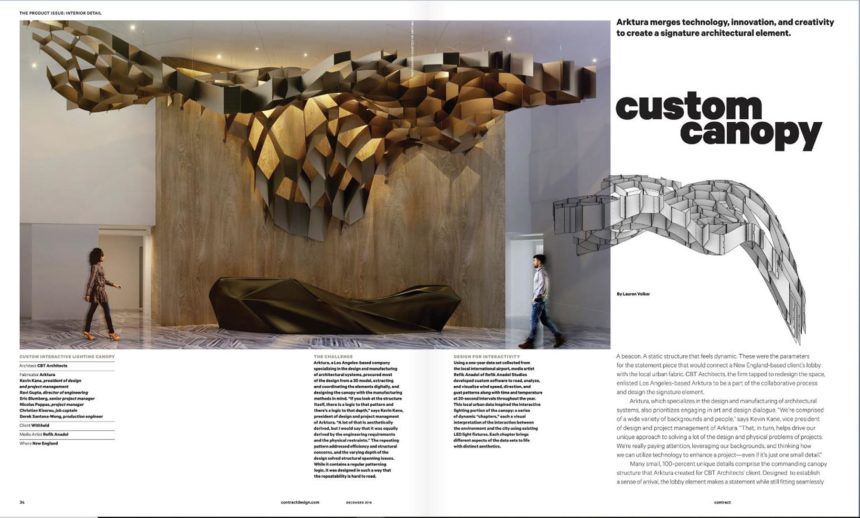 Arktura in Contract Magazine Spread on Custom Canopy Article