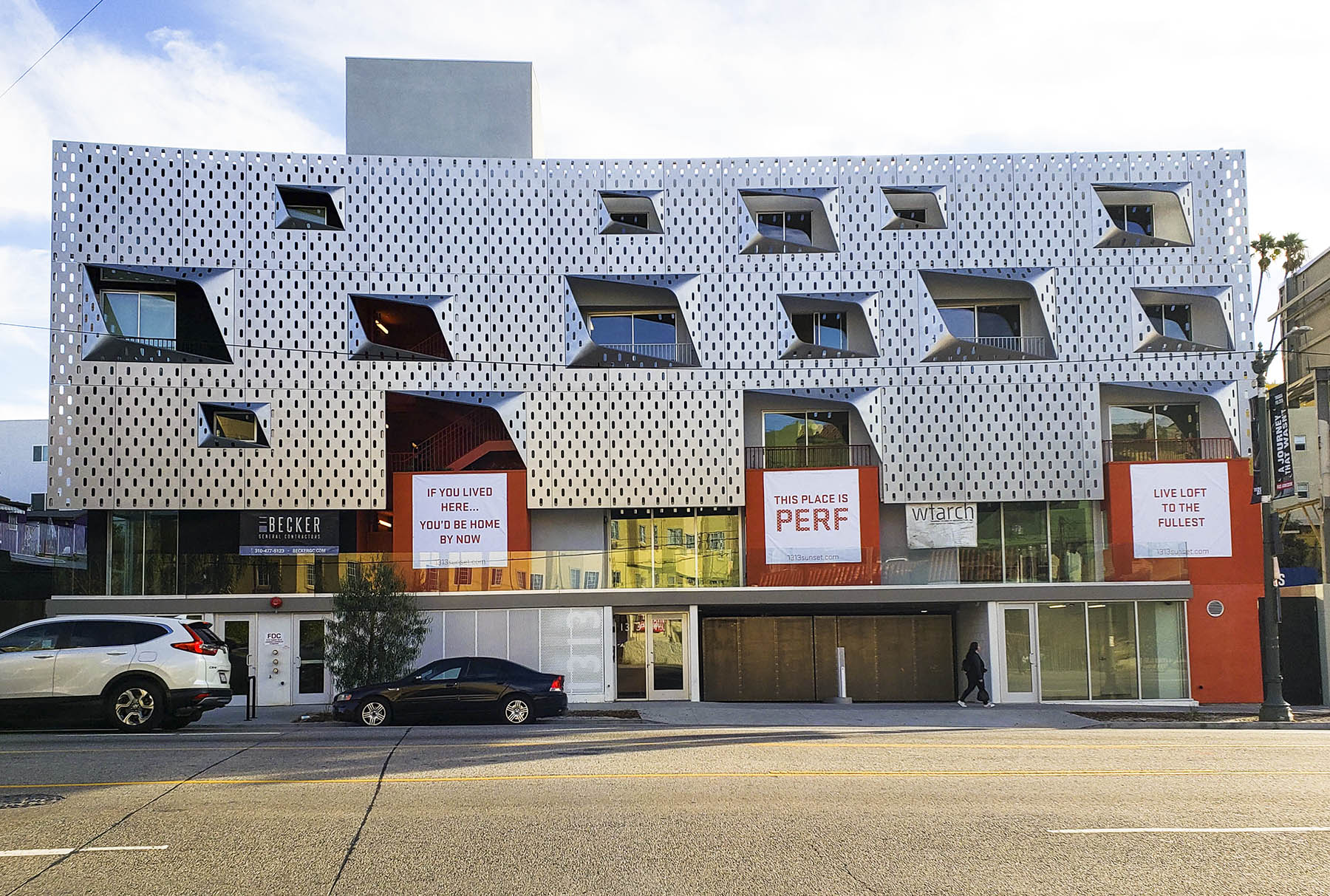 Exterior Facade of 1313 Sunset Residential Apartments in Los Angles, CA