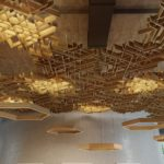 SoftGrid Flux Soft Sound Acoustic Ceiling in Oak Wood