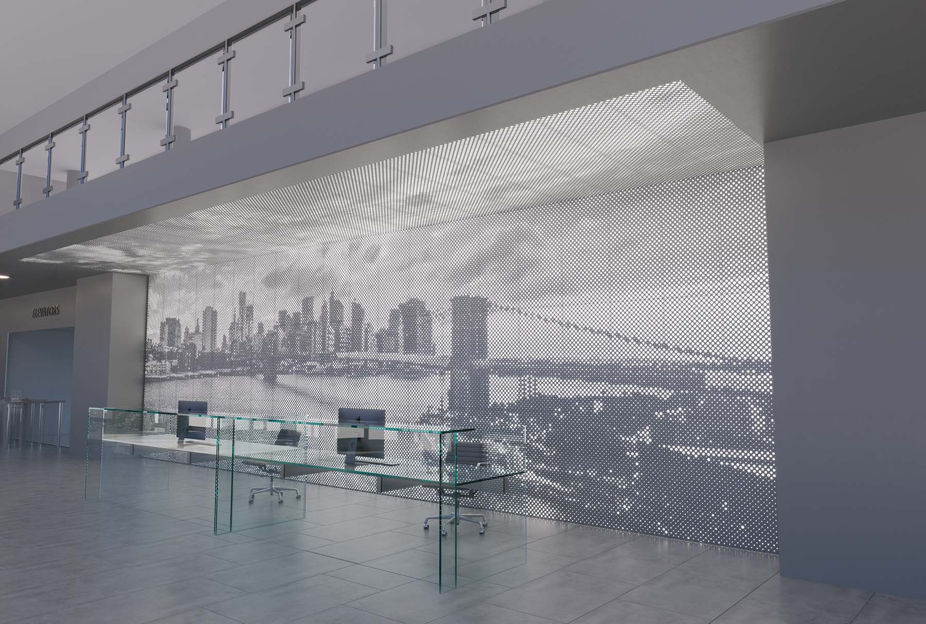 Arktura's Vapor Graphic Perf backlit ceiling and wall panels in a reception lobby.