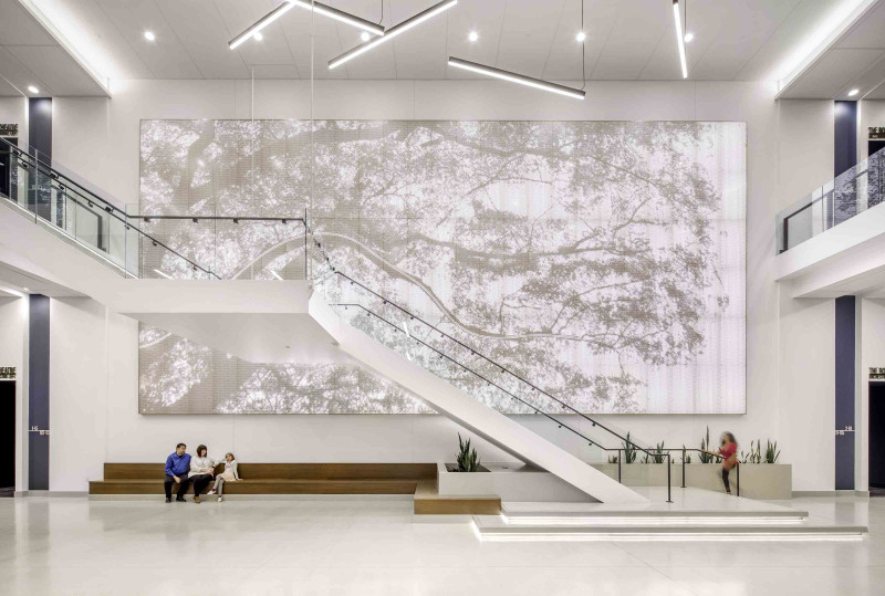 """""""Kirkwood Performing Arts Center"""", Kirkwood, MO, Jacobs, Thomas McConnell LLC (Photographer), Featuring: Vapor® Graphic Perf® Custom by Arktura"""