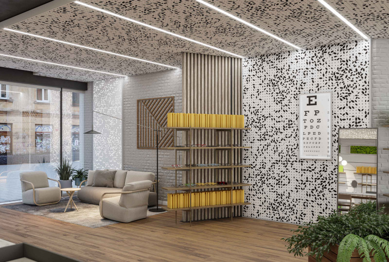 """""""Optical Retail and Office Reception"""" Featuring: Vapor® Bloom by Arktura with Soft Sound®, InLine and Backlighting Accessories"""