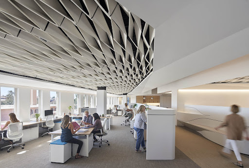"""""""Leavy Library Shoah Foundation"""" Los Angeles, CA, Belzberg Architects, Bruce Damonte (Photographer), Featuring: SoftFold® by Arktura"""